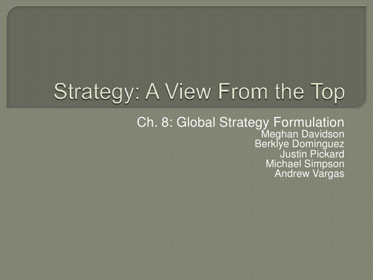 Ch. 8: Global Strategy Formulation                    Meghan Davidson                   Berklye Dominguez                 ...
