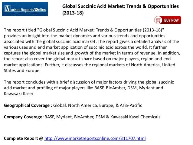 Global Succinic Acid Industry 2018 Trends