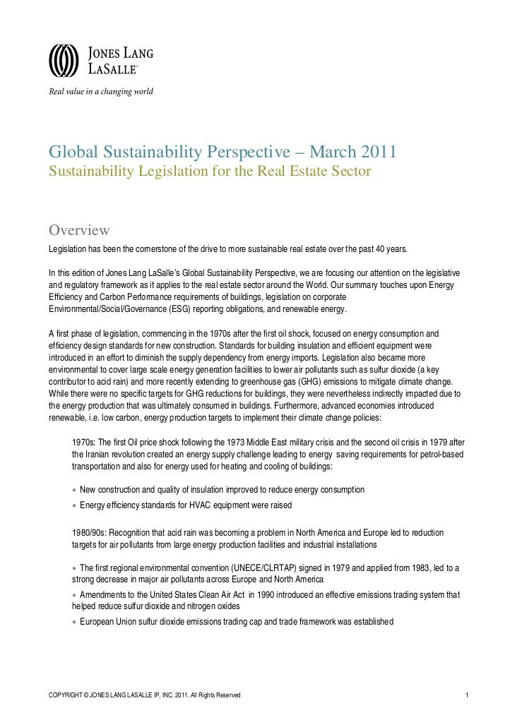 Global Sustainability Perspective – March 2011Sustainability Legislation for the Real Estate SectorOverviewLegislation has...