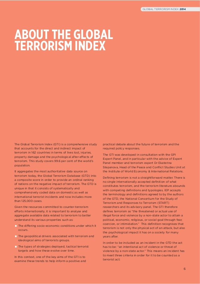 global terrorism index gti summary and analysis Data from the global terrorism database is used to generate the global terrorism index (gti) published by the institute for economics and peace [2] academic reception edit.