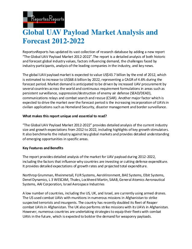 Global UAV Payload Market Analysis andForecast 2012-2022ReportsnReports has updated its vast collection of research databa...
