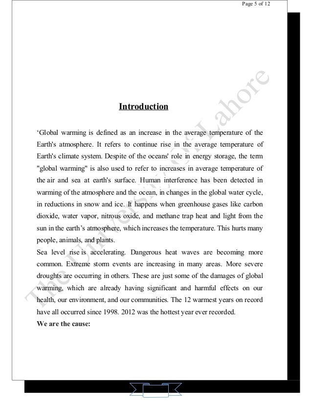 Introduction for global warming essay