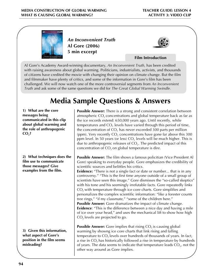 Printables Inconvenient Truth Worksheet inconvenient truth worksheet kids global warming lesson plan