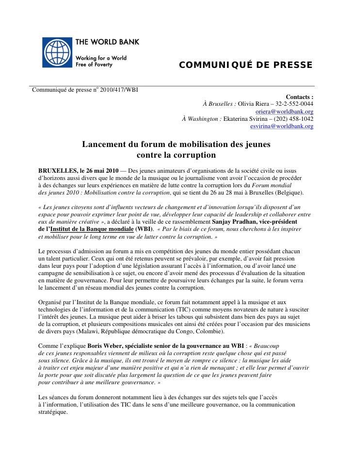 COMMUNIQUÉ DE PRESSE  Communiqué de presse no 2010/417/WBI                                                                ...