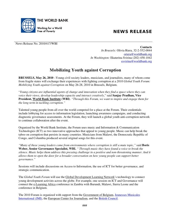 NEWS RELEASE  News Release No. 2010/417/WBI                                                                               ...