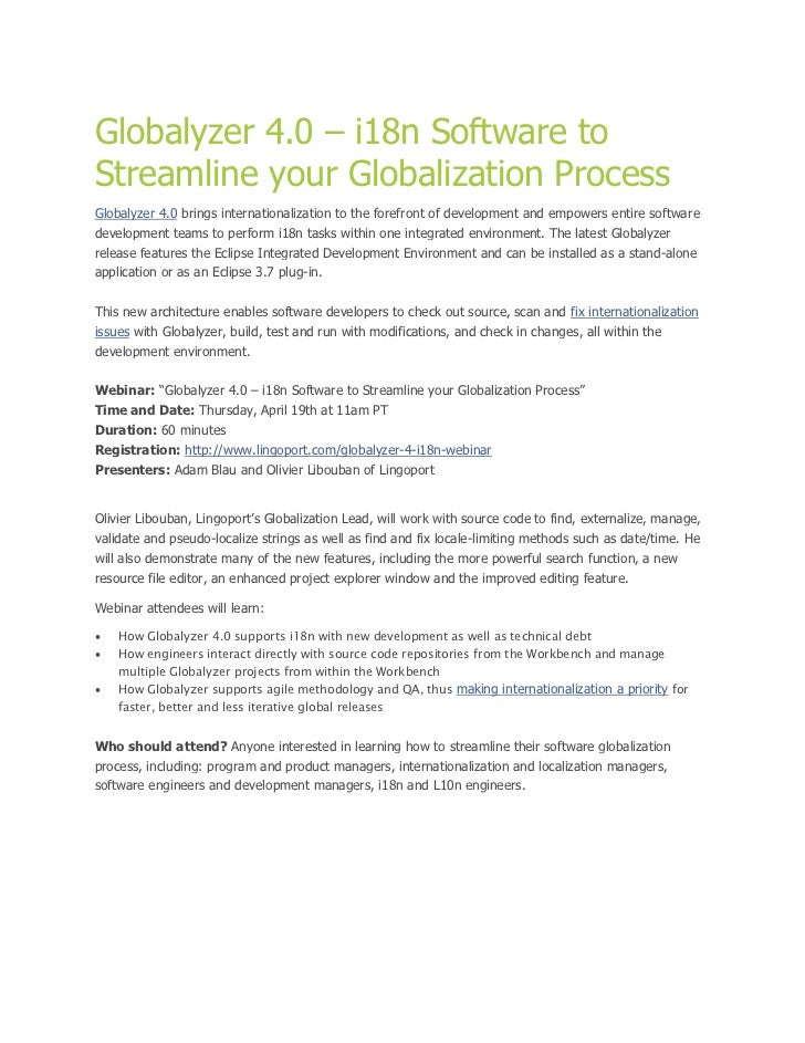 Globalyzer 4.0 – i18n Software toStreamline your Globalization ProcessGlobalyzer 4.0 brings internationalization to the fo...