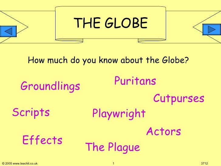 How much do you know about the Globe?  Scripts Playwright Effects Puritans Actors Groundlings The Plague  Cutpurses