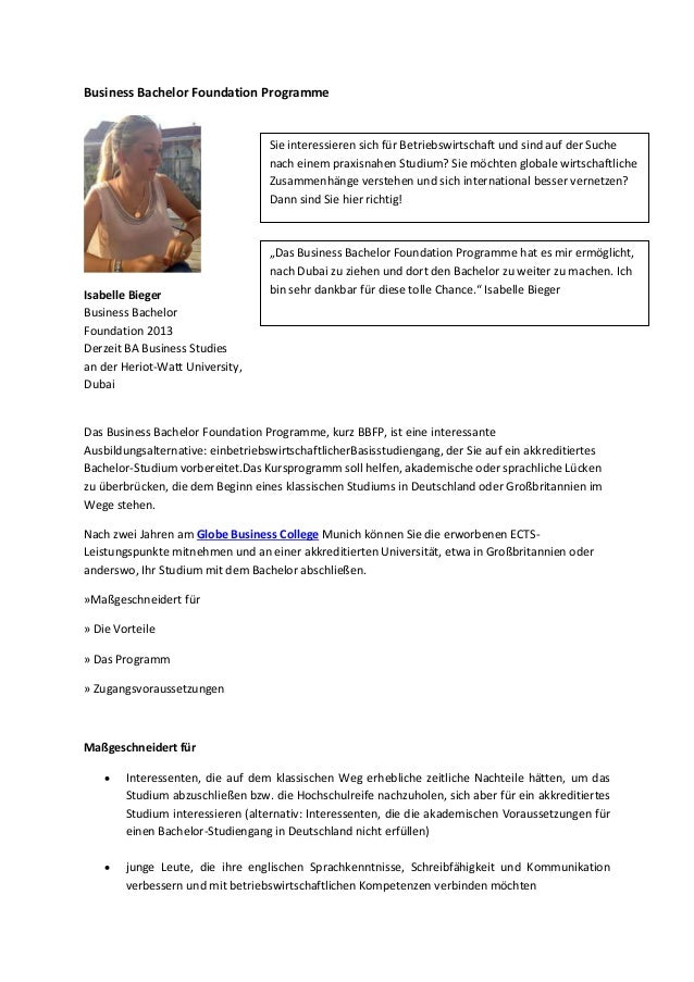 Business Bachelor Foundation Programme  Sie interessieren sich für Betriebswirtschaft und sind auf der Suche nach einem pr...