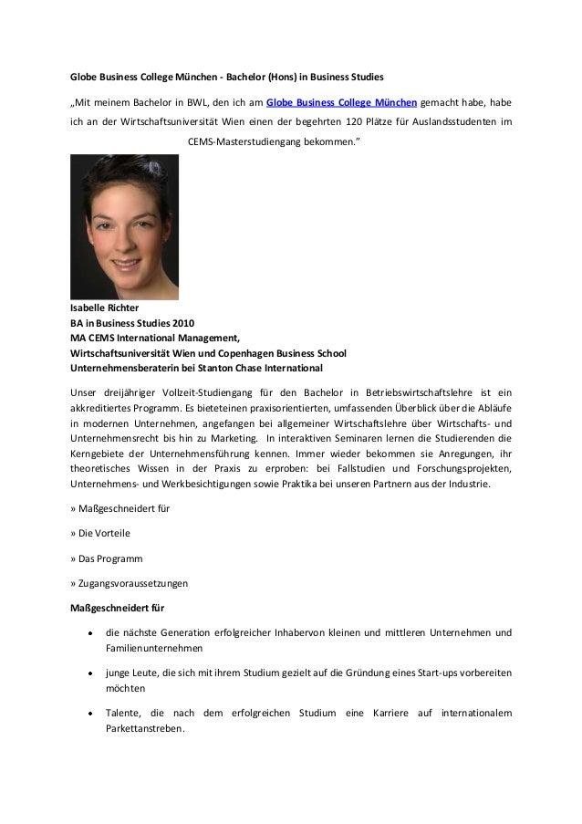 """Globe Business College München - Bachelor (Hons) in Business Studies """"Mit meinem Bachelor in BWL, den ich am Globe Busines..."""