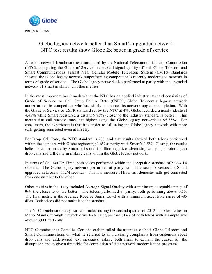 PRESS RELEASE        Globe legacy network better than Smart's upgraded network        NTC test results show Globe 2x bette...