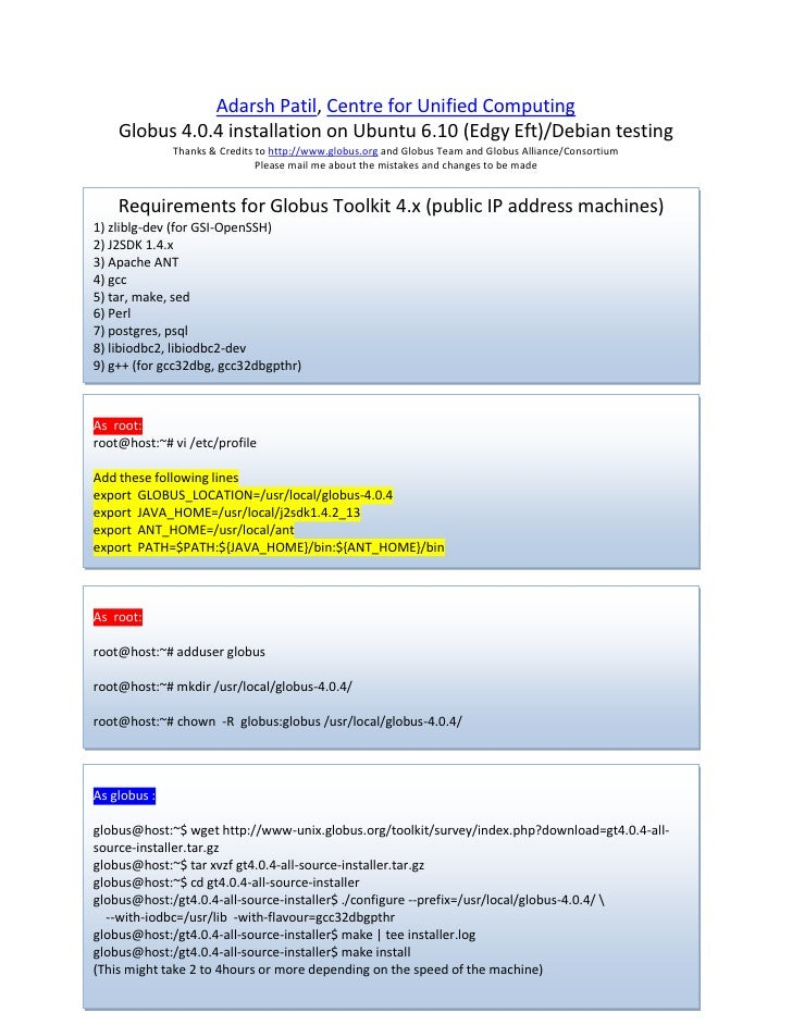 Globus toolkit4installationguide