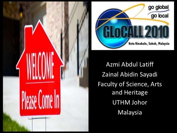 Azmi Abdul Latiff<br />ZainalAbidinSayadi<br />Faculty of Science, Arts and Heritage<br />UTHM Johor<br />Malaysia<br />