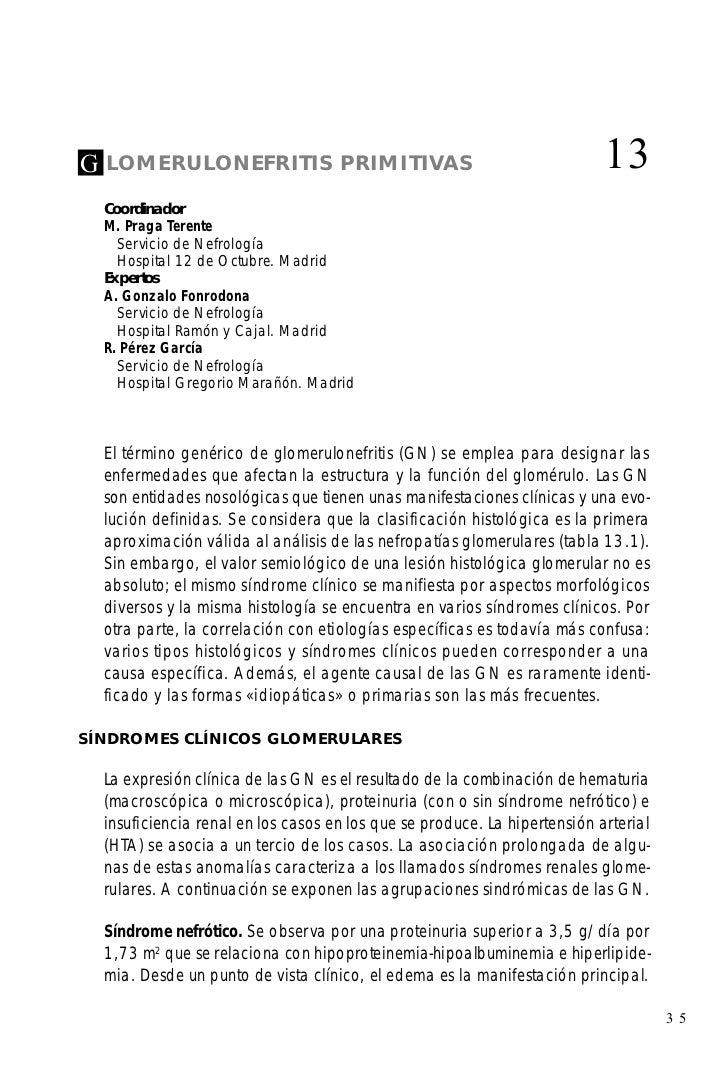 G   LOMERULONEFRITIS PRIMITIVAS                                              13    Coordinador    M. Praga Terente      Se...