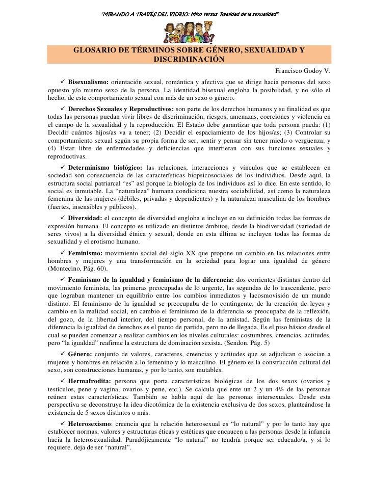 """""""MIRANDO A TRAVÉS DEL VIDRIO: Mito versus Realidad de la sexualidad""""                                          VIDRIO:     ..."""