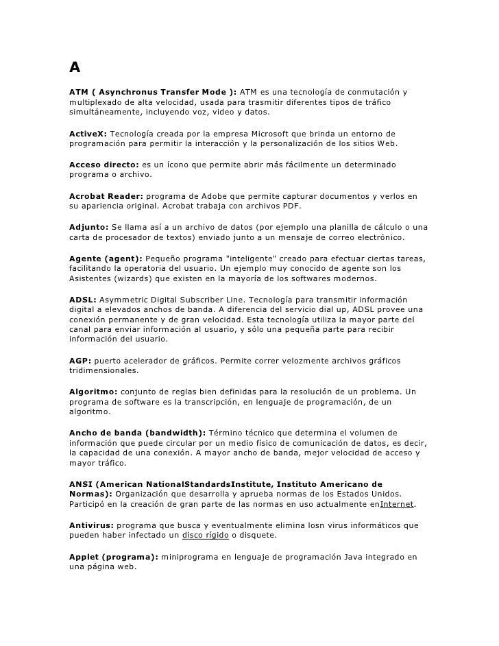 GLOSARIO DE TERMINOS EN INGLES