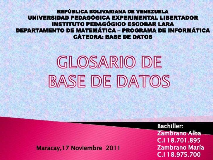 REPÚBLICA BOLIVARIANA DE VENEZUELA   UNIVERSIDAD PEDAGÓGICA EXPERIMENTAL LIBERTADOR         INSTITUTO PEDAGÓGICO ESCOBAR L...