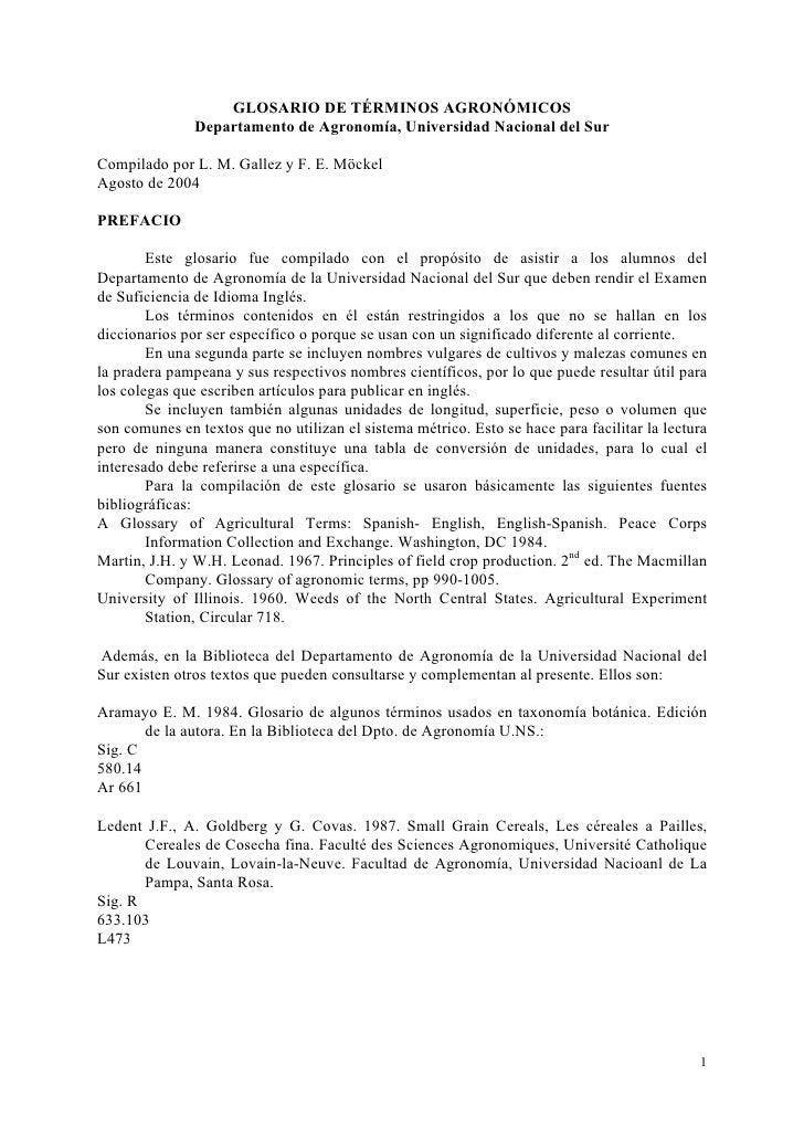 GLOSARIO DE TÉRMINOS AGRONÓMICOS               Departamento de Agronomía, Universidad Nacional del SurCompilado por L. M. ...