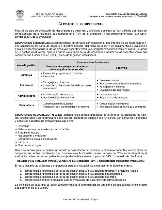 REPÚBLICA DE COLOMBIA  EVALUACIÓN ANUAL DE DESEMPEÑO LABORAL DOCENTES Y DIRECTIVOS DOCENTES DECRETO LEY 1278 DE 2002  MINI...