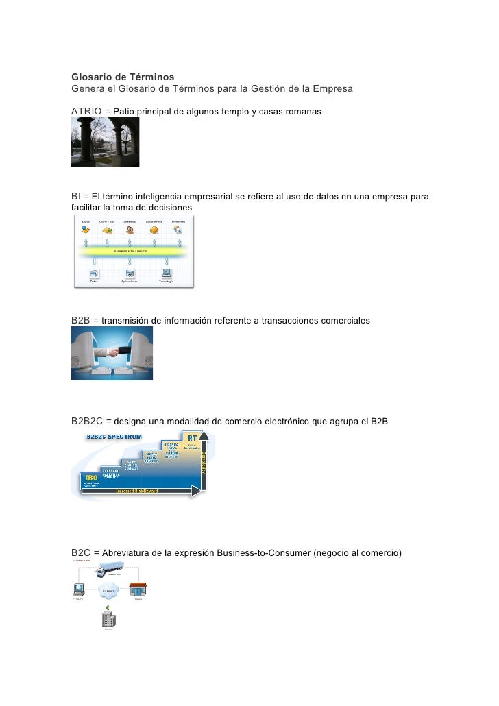 Glosario de Términos Genera el Glosario de Términos para la Gestión de la Empresa  ATRIO = Patio principal de algunos temp...