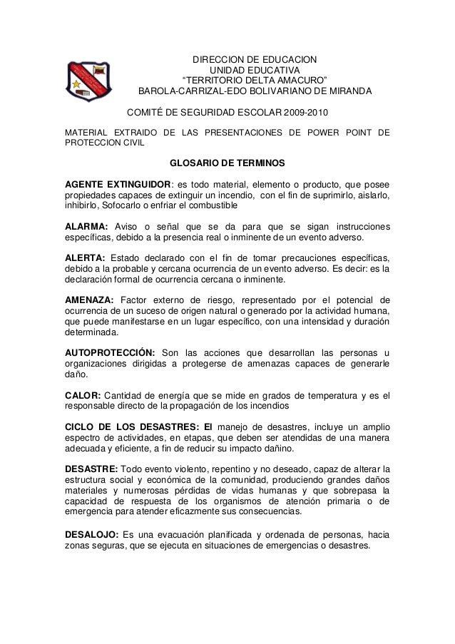 """DIRECCION DE EDUCACION UNIDAD EDUCATIVA """"TERRITORIO DELTA AMACURO"""" BAROLA-CARRIZAL-EDO BOLIVARIANO DE MIRANDA COMITÉ DE SE..."""