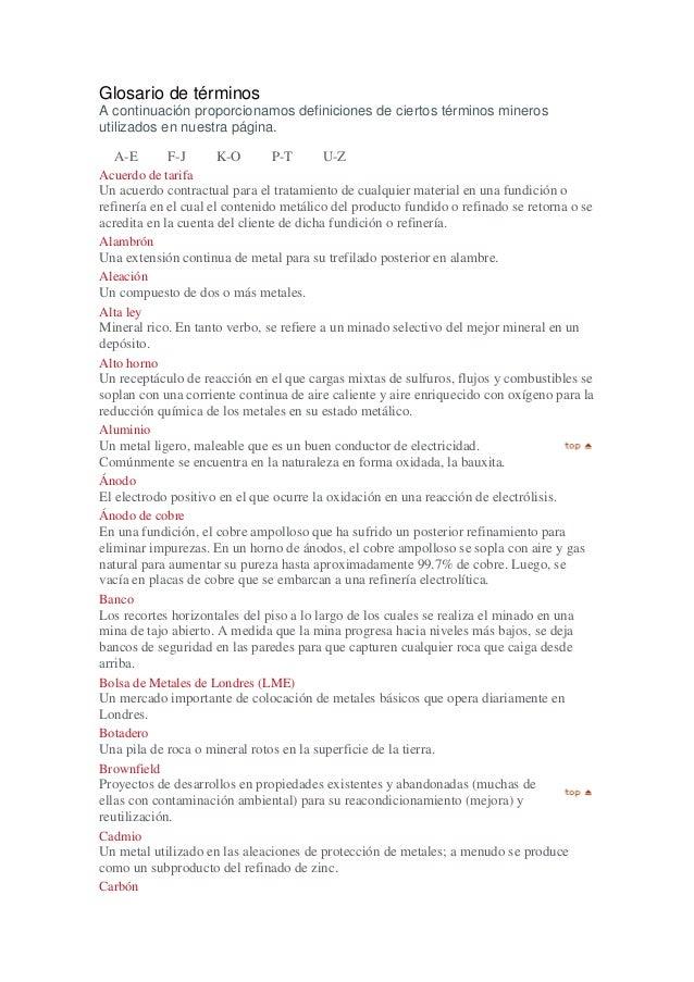 Glosario de términos A continuación proporcionamos definiciones de ciertos términos mineros utilizados en nuestra página. ...