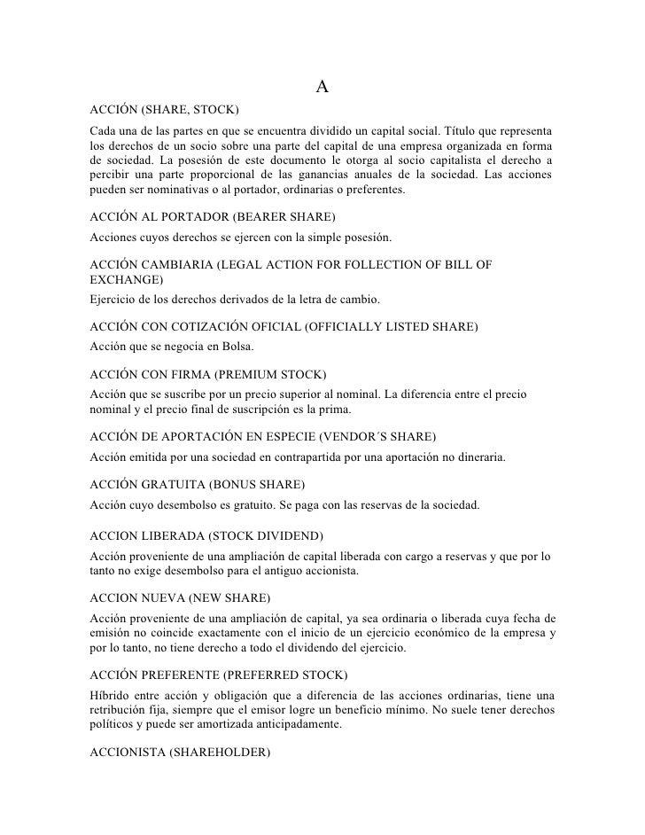 Glosario de términos financieros.