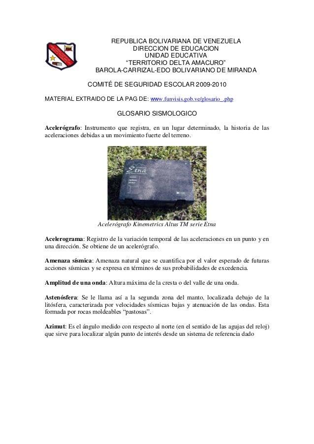 """REPUBLICA BOLIVARIANA DE VENEZUELA DIRECCION DE EDUCACION UNIDAD EDUCATIVA """"TERRITORIO DELTA AMACURO"""" BAROLA-CARRIZAL-EDO ..."""