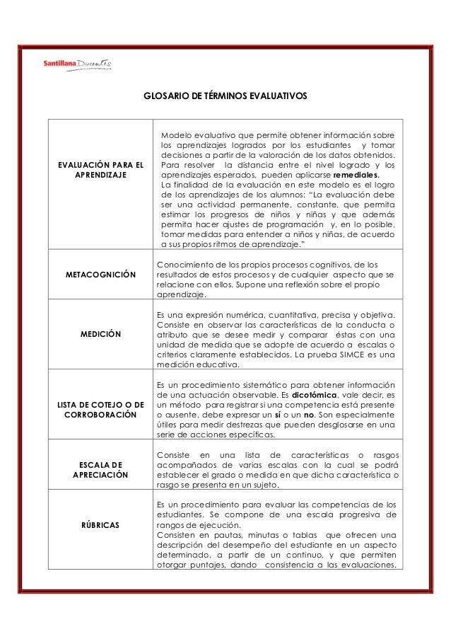 GLOSARIO DE TÉRMINOS EVALUATIVOS  EVALUACIÓN PARA EL APRENDIZAJE  METACOGNICIÓN  MEDICIÓN  Modelo evaluativo que permite o...