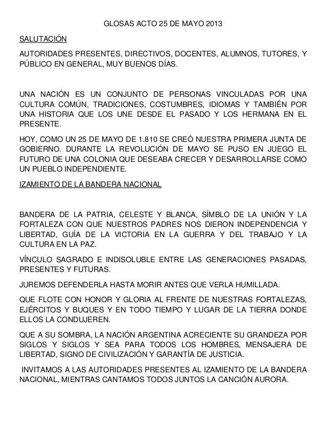 GLOSAS ACTO 25 DE MAYO 2013SALUTACIÓNAUTORIDADES PRESENTES