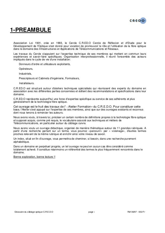 1-PREAMBULEAssociation Loi 1901, crée en 1993, le Cercle C.R.ED.O Cercle de Réflexion et dEtude pour leDéveloppement de lO...