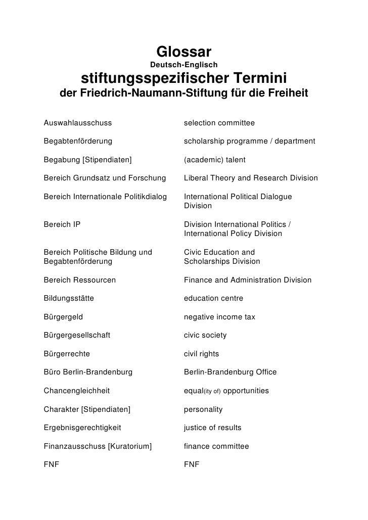 Glossar                                Deutsch-Englisch              stiftungsspezifischer Termini       der Friedrich-Nau...