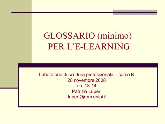 Glossario per l'e-learning