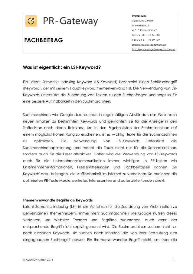 FACHBEITRAG Impressum: ADENION GmbH Merkatorstr. 2 41515 Grevenbroich Tel. 0 21 81 – 75 69 140 Fax 0 21 81 – 75 69 199 pre...
