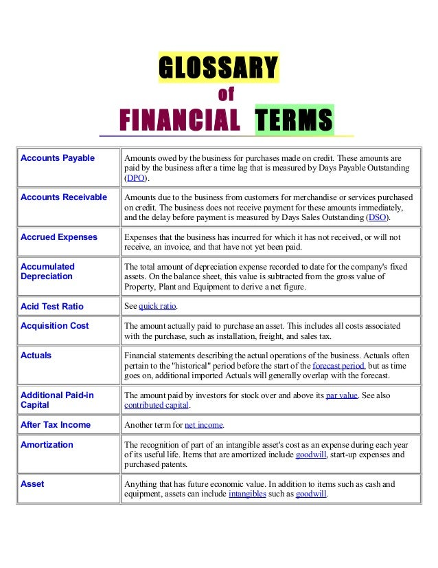 GLOSSARY                                                  of                      FINANCIAL TERMSAccounts Payable      Amo...