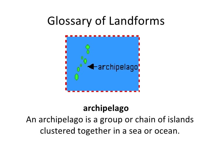 Glossary of Landforms <ul><li>archipelago An archipelago is a group or chain of islands clustered together in a sea or oce...