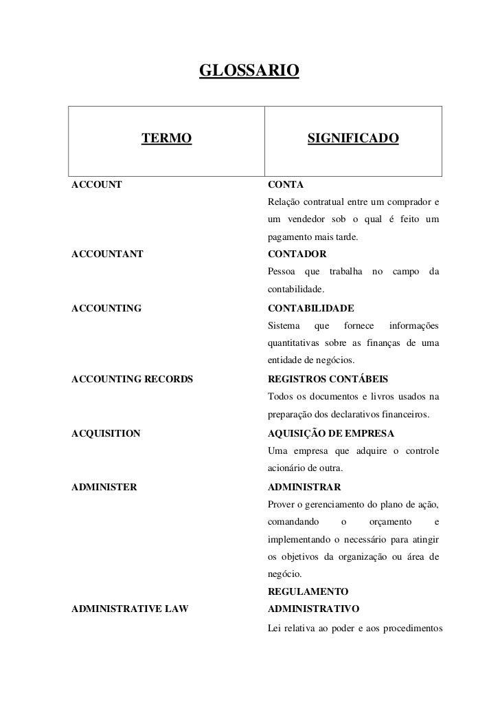 GLOSSARIO              TERMO                    SIGNIFICADOACCOUNT                     CONTA                            Re...