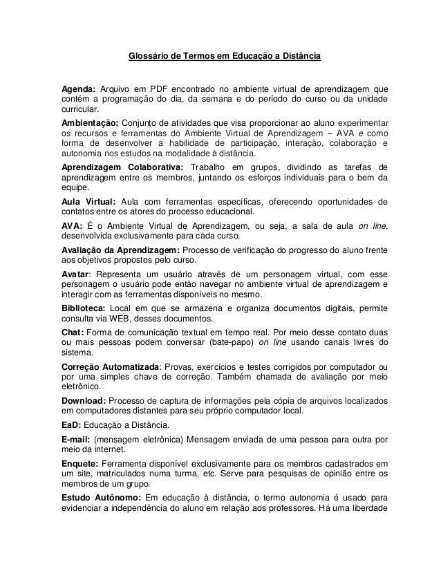 Glossário de Termos em Educação a Distância Agenda: Arquivo em PDF encontrado no ambiente virtual de aprendizagem que cont...