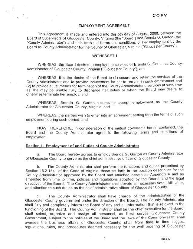 COpy EMPLOYMENT AGREEMENT This Agreement is made and entered into this 5th day of August, 2008, between the Board of Super...