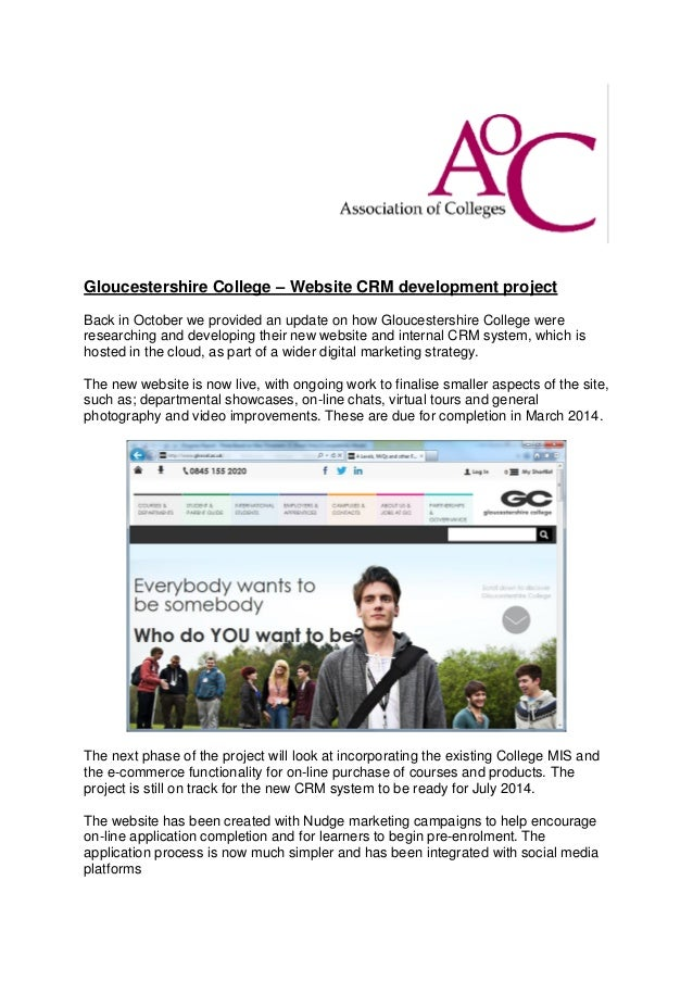 Gloucestershire College – Website CRM development project Back in October we provided an update on how Gloucestershire Col...
