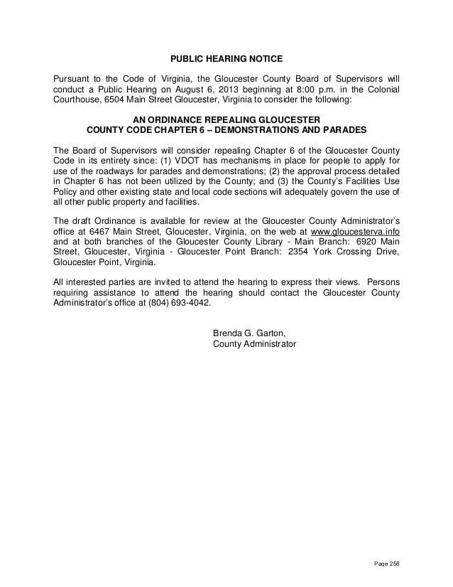 PUBLIC HEARING NOTICE Pursuant to the Code of Virginia, the Gloucester County Board of Supervisors will conduct a Public H...