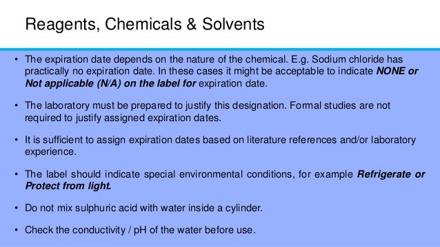 Expiration dating for laboratory reagents and solutions