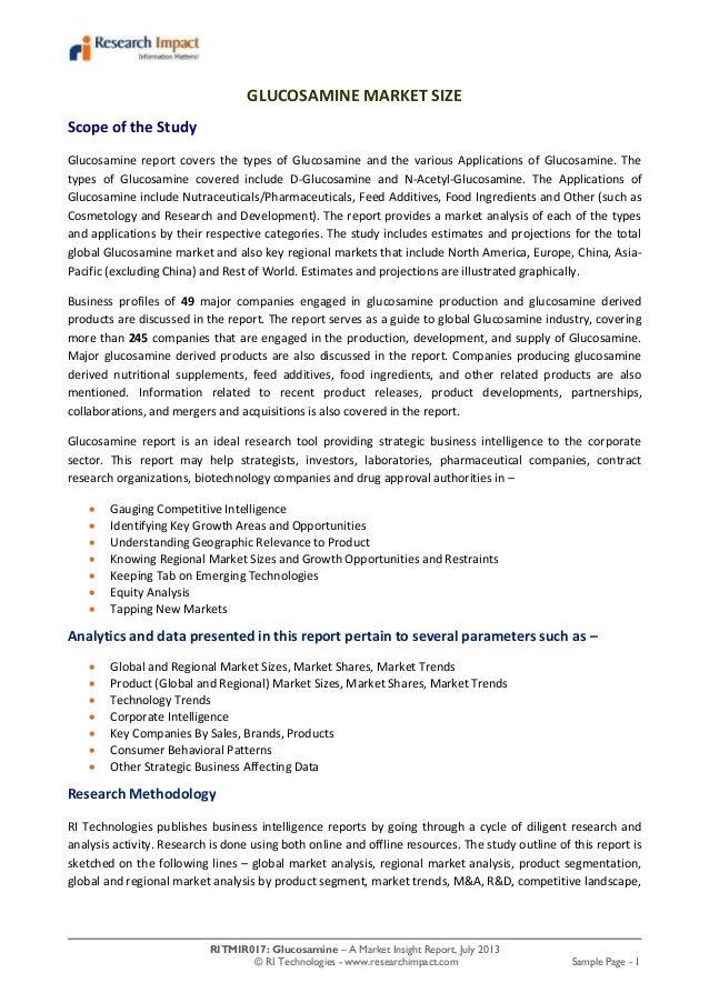 RITMIR017: Glucosamine – A Market Insight Report, July 2013 © RI Technologies - www.researchimpact.com Sample Page - 1 GLU...