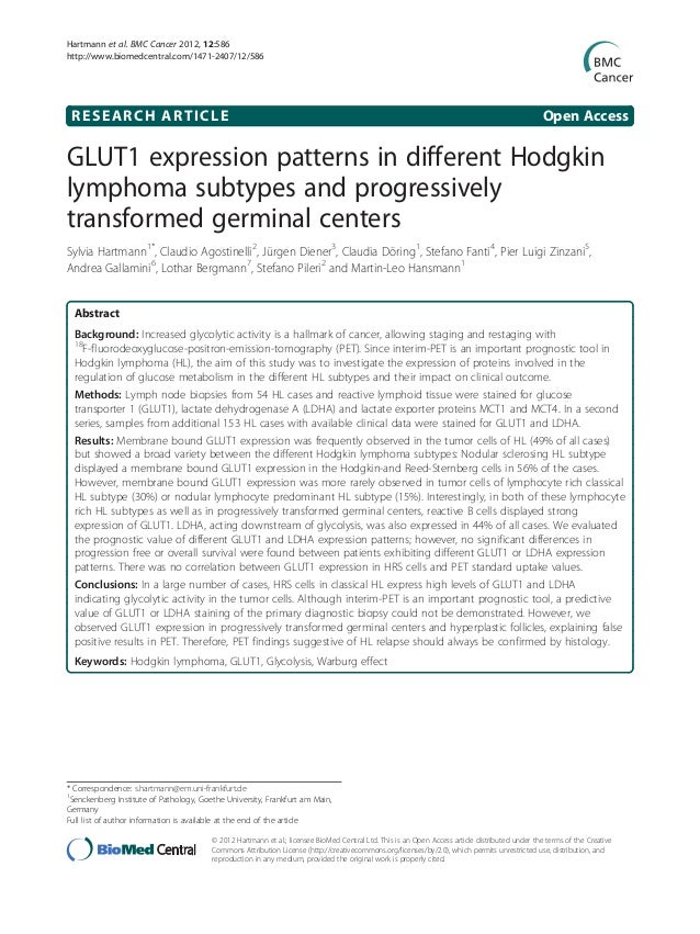 Hartmann et al. BMC Cancer 2012, 12:586 http://www.biomedcentral.com/1471-2407/12/586  RESEARCH ARTICLE  Open Access  GLUT...