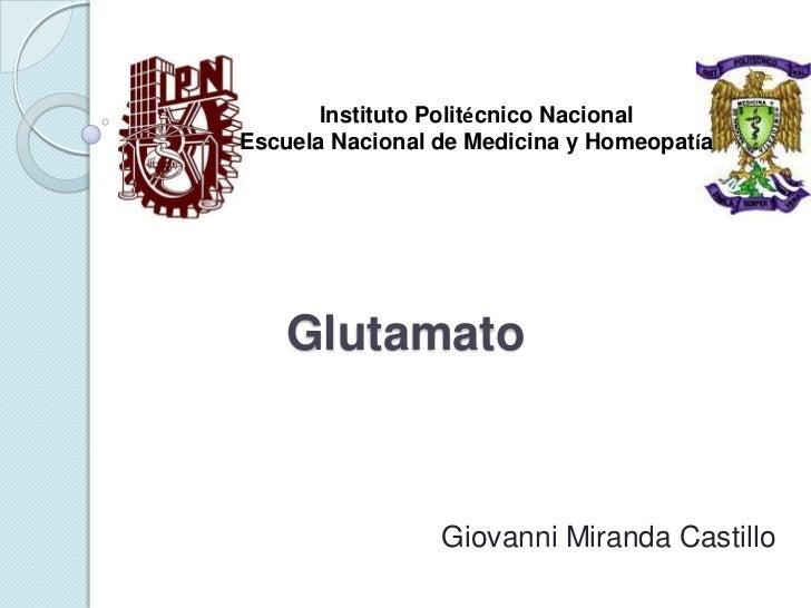 Instituto Politécnico NacionalEscuela Nacional de Medicina y Homeopatía    Glutamato                 Giovanni Miranda Cast...