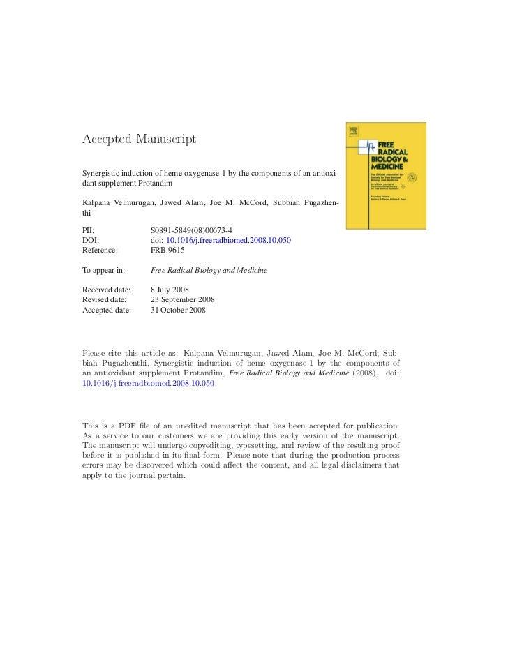 ÔØ Å ÒÙ× Ö ÔØSynergistic induction of heme oxygenase-1 by the components of an antioxi-dant supplement ProtandimKalpana Ve...