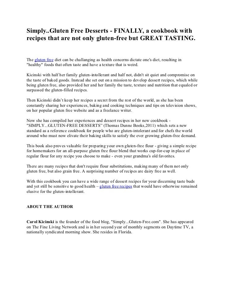 Gluten free recipes and diet by carol kicinski