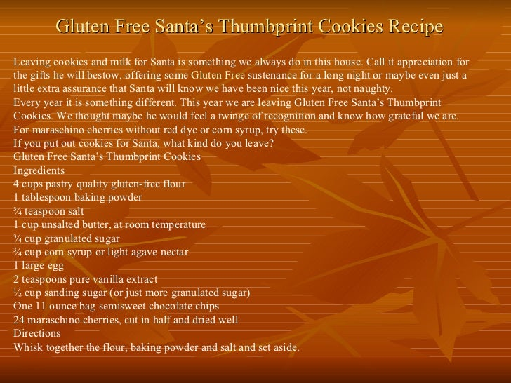 Gluten Free Santa's Thumbprint Cookies Recipe Leaving cookies and milk for Santa is something we always do in this house. ...