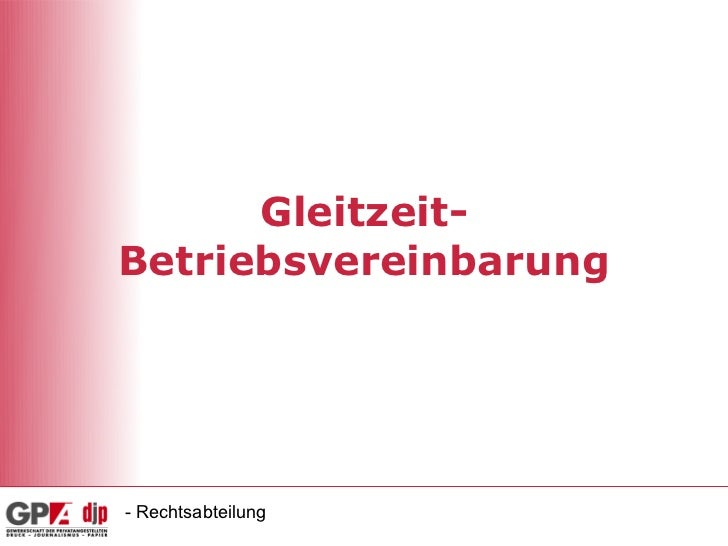 Gleitzeit-Betriebsvereinbarung- Rechtsabteilung