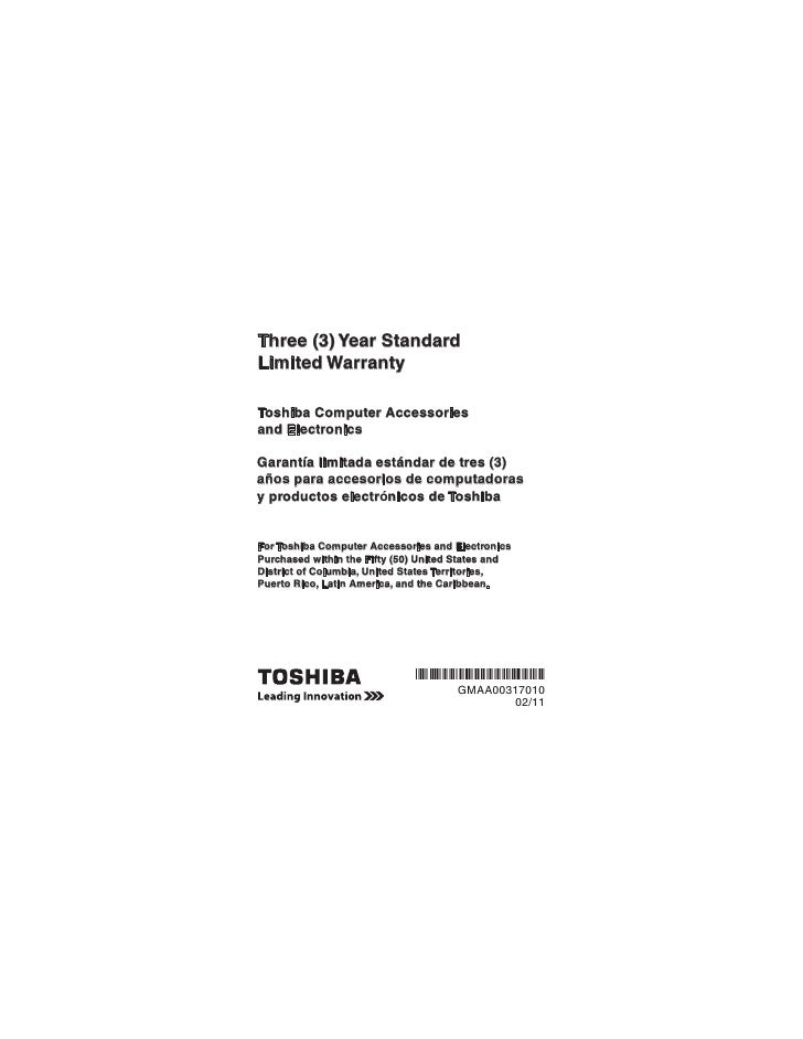 Three (3) Year StandardLimited WarrantyToshiba Computer Accessoriesand ElectronicsGarantía limitada estándar de tres (3)añ...
