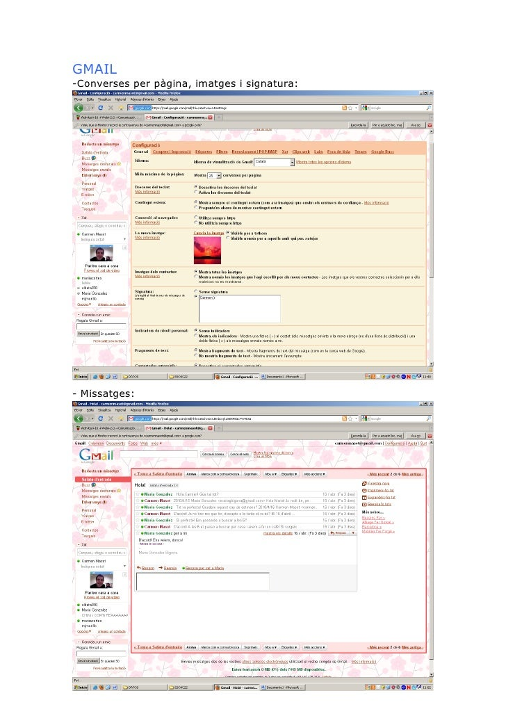 GMAIL -Converses per pàgina, imatges i signatura:     - Missatges: